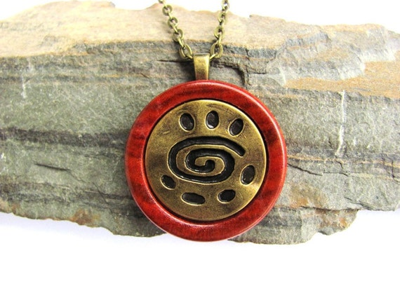 Wood Necklace Pendant Spiral Brass Button Redheart Wooden Eco Friendly Jewelry by Hendywood