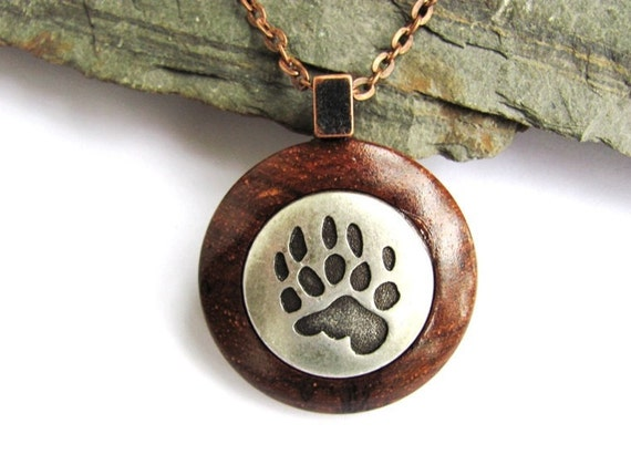 Wood Necklace Pendant Bear Paw Print Metal Button Rosewood Jewelry by Hendywood