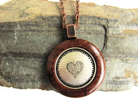 Wood Necklace Pendant Heart Metal Button Rosewood Jewelry by Hendywood