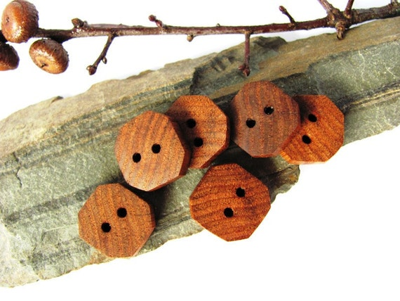 Wood Buttons Reclaimed Wormy Chestnut Handmade Wooden Buttons Set of 6 by Hendywood