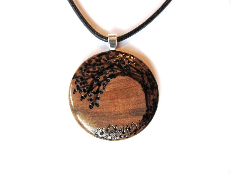 tree of necklace wooden pendant wood burned tree in maple
