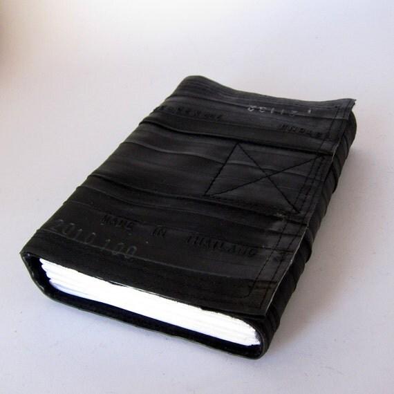Journal, bicycle inner tube, recycled handmade blank, medium.