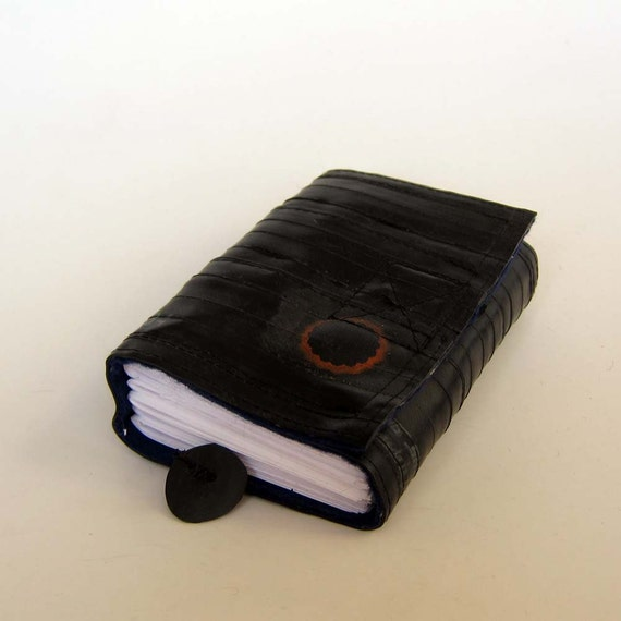 Recycled journal, bike inner tube, blank pages, blue linen and black velcro closure, small.