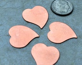4 Heart Copper Blanks 22mm  24 gauge  FREE SHIPPING