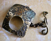 Qty 1 Branches and  Leave Etched Brass Toggle Clasp - FREE SHIPPING USA