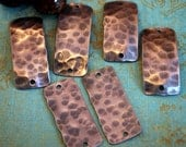 Hammered Rectangle Copper Charms -6 pieces FREE SHIPPING US