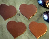 Qty 4  -  Heart Blanks Stampings in Copper  24mm x 22mm  24 gauge  -  FREE SHIPPING