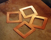 "Qty 4 - Copper 1""  Copper Square Blanks w/ Open Center - FREE SHIPPING"