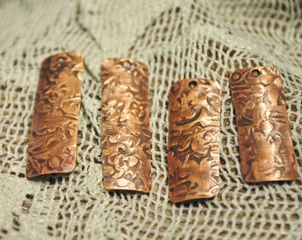 Ancient Scroll Rectangle Copper Charms - Qty 4 FREE US SHIPPING