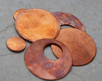 "Qty 4 -1.5"" Round Copper Blanks with Circle Cut and  4 Round Blanks FREE SHIPPING"