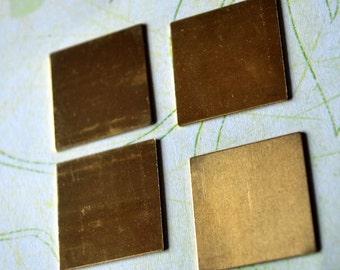 "1"" Square Blanks QTY 4 -Raw Brass  24g - Free shipping"