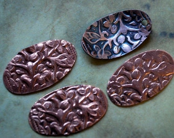 """4 Copper Athena or Ma'at Long Oval Textured  Stampings  Small  24g 1/2"""" x 3/4"""" - Free Shipping USA"""