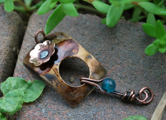 Walnut Patina and Flower Clasp with Beaded Hook...Brass and Copper