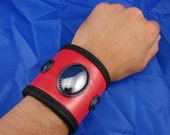 Men's Red Leather and Beaded Hematite Cabochon Cuff with Hidden Pocket
