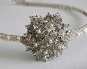 Rhinestone Brooch Headband with Swarovski Pearls and Crystals in Ivory or White