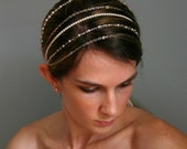 Five Strand Sterling Silver Bridal Headband with Swarovski Pearls and Crystals