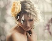 FREE SHIPPING A Large Handmade Silk Bloom Bridal Headband in Sunshine Yellow and Grey