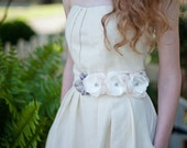 FREE SHIPPING Bridal Sash Belt Triple Flower in Ivory Grey and Pink With Lace and Vintage Accents