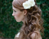 Silk and Lace and Pearl Mini Flower Fascinators Set of 2 in Ivory
