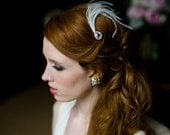 Bridal Hair Pin Rhinestone Tear Drop with Feather Spray in White or Ivory Vintage-Inspired