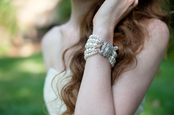 Dramatic Bridal Cuff Bracelet with Swarovski Pearls and Sparkling Art Deco Inspired Clasp Ivory or White