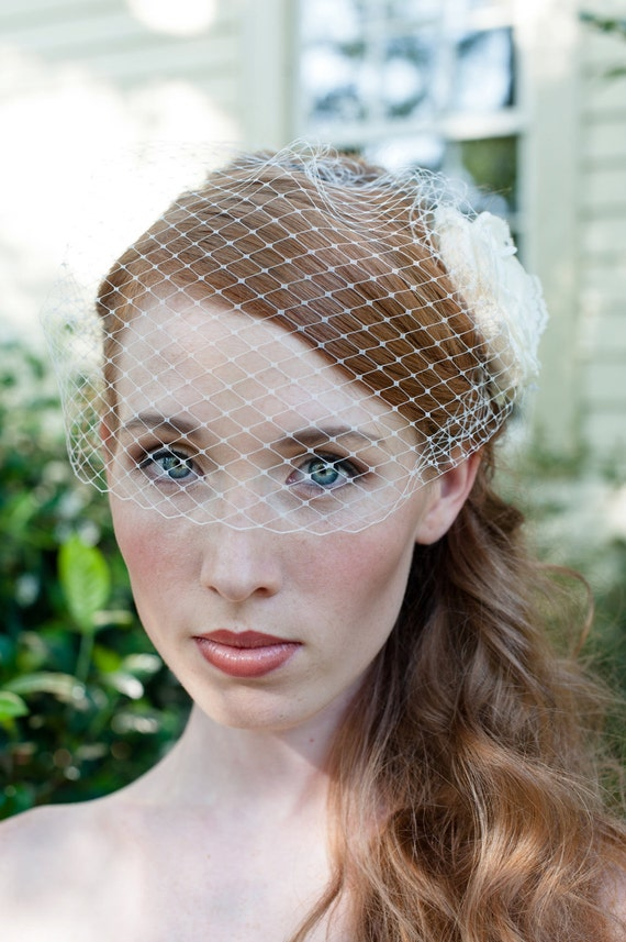 Bridal Birdcage Veil with Plain Edge Easy Fit in Super Soft IVORY or WHITE French Netting