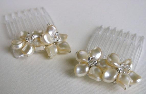 Swarovski Pearl and Crystal Flower Mini Combs SET OF 2