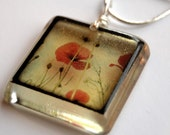 red poppies - hangs on 18 inch chain