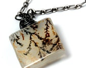 dendritic / dendrite tree agate pendant - hangs on oxidized silver chain