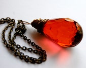 twilight inspired faceted blood drop - hangs on oxidized brass chain