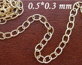 14k Gold Filled Chain Rolo oval 0.5/0.3mm Bulk By 3 Feet 301396GF