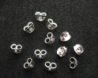 50pcs (25 pairs) Sterling silver Earring Backs (Butterflies, Clutches) 500003