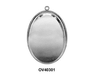 2pc x Oval 40x30mm Bezel Cup with one Ring Sterling Silver 925 (OV40301)