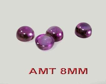 1pcs x Round 8mm Natural Amethyst Gemstone Cabochon (AMTRDCB8)