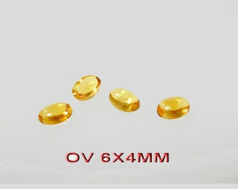 6pcs x Oval 6x4mm Citrine Cabochon Gemstone (CITOVCB64)