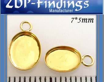 10pcs x Oval 7x5mm Bezel Cups For Setting Gold Plated with soldered ring (OV751BGP)