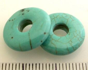 12pcs x 15mm Blue Green Turquoise stripes Donut Pendant (TURS15D)