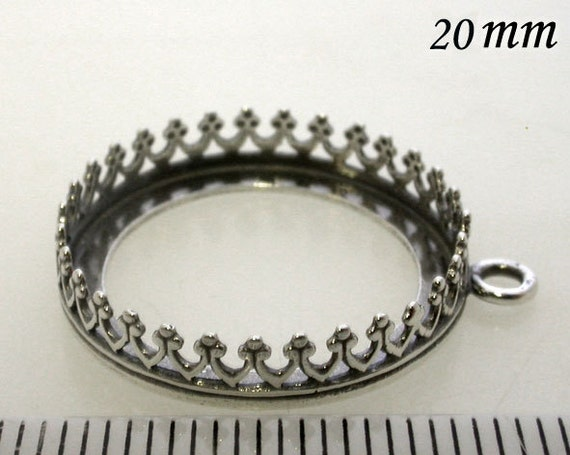 2pcs x Round 20mm Bezel Cups For Setting Antique (Oxidized) Sterling Silver 925 (8393)