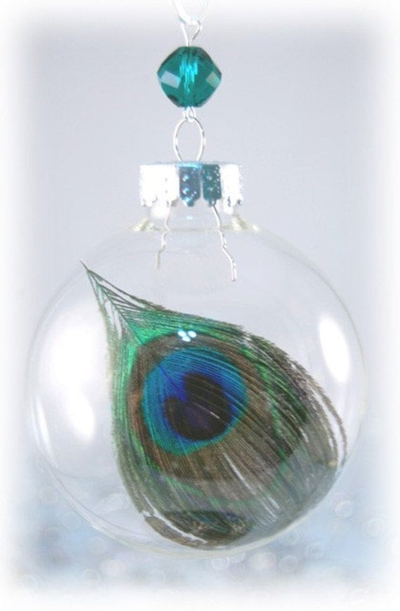 Peacock Feather Christmas Ornament Calista By Ornamentgirl