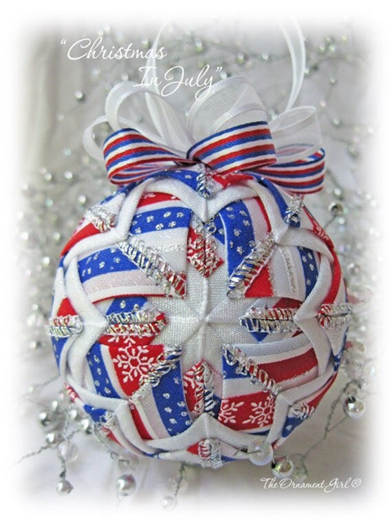 Red white and blue patriotic christmas ornament by ornamentgirl