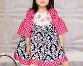 Damask Dots Flowers peasant dress