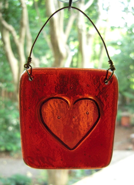 Cranberry Red Heart Suncatcher