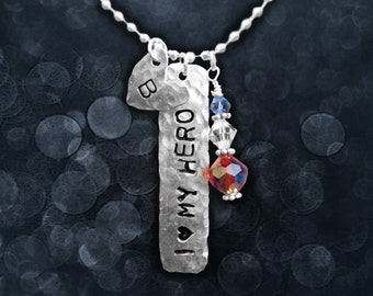 Custom I (heart) MY HERO Stamped Tag Necklace with Initials and Patriotic Swarovski Charm