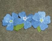 Trendy Blue Pansy Hair Clip Christmas Present Gift Stocking Stuffer Birthday Teen Tween Teacher