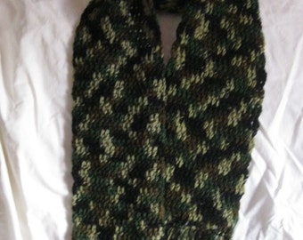 Warm Hand Crocheted Scarf in Classic Camo Unisex Christmas Fathers Day Birthdat Gift Present Men Teen Boys Keep Him Snug and Warm