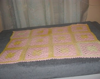 Small Pink and Yellow Throw or Baby Blanket Christmas Gift Present  Newborn Girl Baby Shower New Mom Valentines