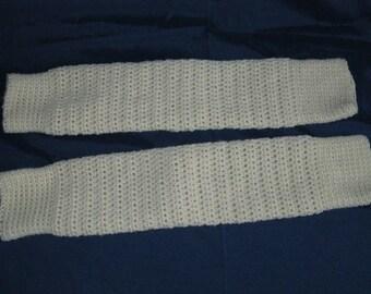 Girl's Winter White Crocheted Legwarmers