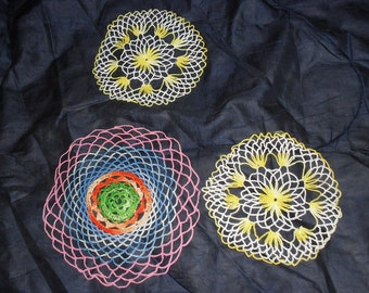 A Trio of Lovely Colorful Vintage Doilies Christmas Present Gift Stocking Stuffer Hostess Teacher Birthday Mothers Day Housewarming