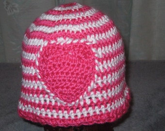 Hot Pink and White Crocheted Hat with Pink Heart,  Adult Size