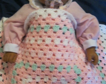 Classic Pastel Pink Granny Square Baby Afghan Christmas Gift Present  Newborn Girl Baby Shower New Mom